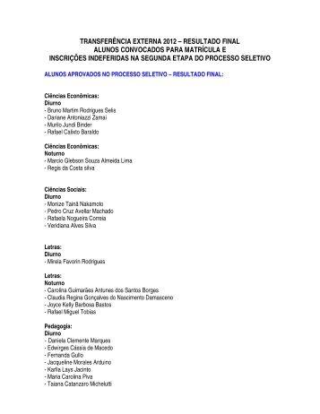 transferência externa 2012 – resultado final alunos convocados ...