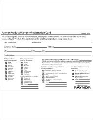 Raynor Product Warranty Registration Card - Raynor Garage Doors