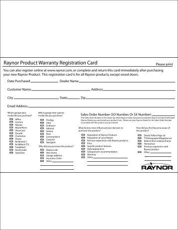 Raynor Product Warranty Registration Card - Raynor Garage Doors