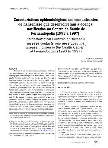 Características epidemiológicas dos comunicantes de hanseníase ...
