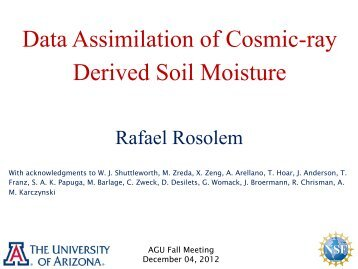 Data Assimilation of Cosmic-ray Derived Soil Moisture - IMAGe