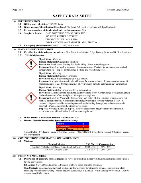 TCC-230 Resin MSDS - Tool Chemical Company