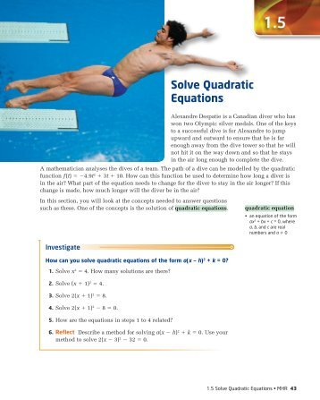Section 1.5 – Solve Quadratic Equations - McGraw-Hill Ryerson
