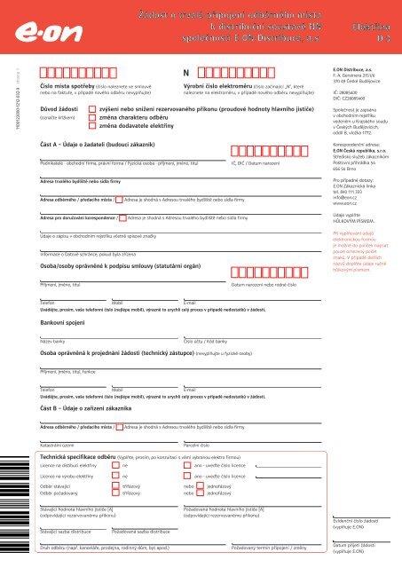 Žádost o trvalé připojení odběrného místa (Změna) - E.ON