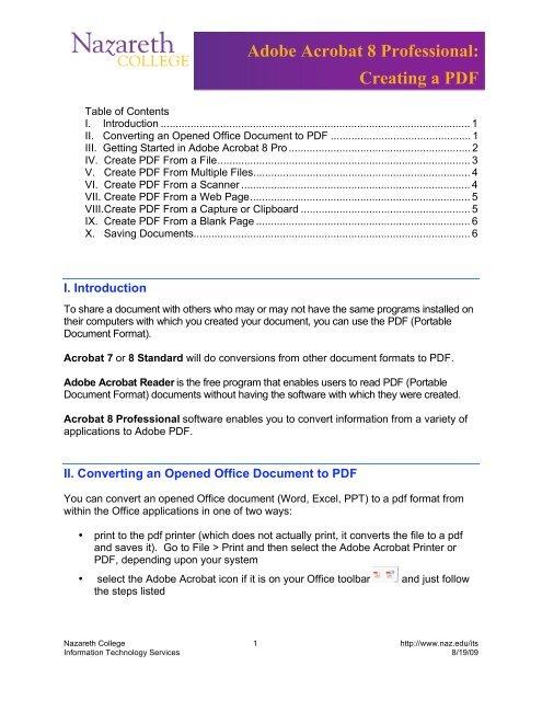 Adobe Acrobat 8 Professional: Creating a PDF - Nazareth College