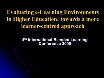 Evaluating e-Learning Environments in Higher Education ... - StudyNet