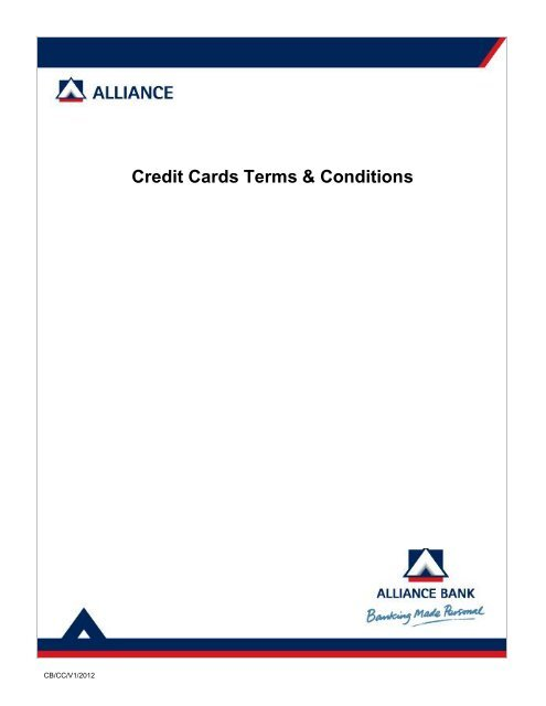 Credit Cards Terms & Conditions - Alliance Bank Malaysia Berhad