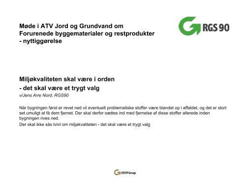 Jens Arre Nord - ATV Jord og Grundvand