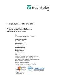 Prüfung eines Sonnenkollektors nach EN 12975-1,2:2006