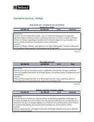 Descriptions des cours – Biologie BIOLOGIE (BI – SCIENCES DE ...