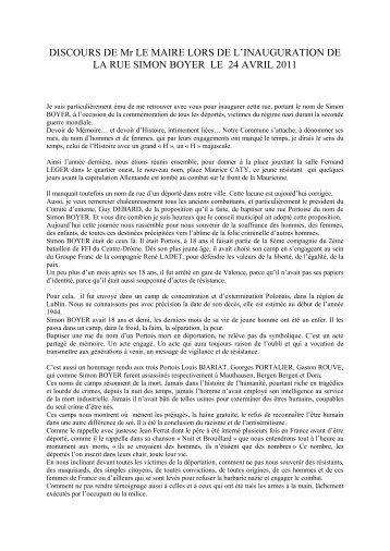 Discours de M. le Maire lors de l'inauguration de la Rue Simon ...