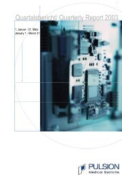 Quartalsbericht/ Quarterly Report 2003 - PULSION Medical Systems ...