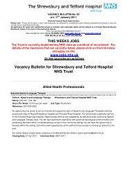 Vacancy Bulletin for Shrewsbury and Telford Hospital NHS Trust