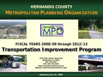 Transportation Improvement Program FY 2008 ... - Hernando County