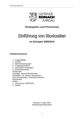 Kindergarten und Primarschule im Schuljahr 2009/2010 - Reinach