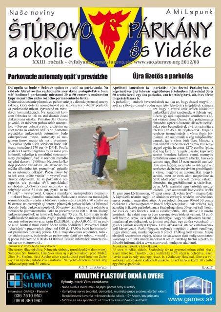 Parkovacie automaty opäť v prevádzke Újra fizetős ... - Mesto Štúrovo