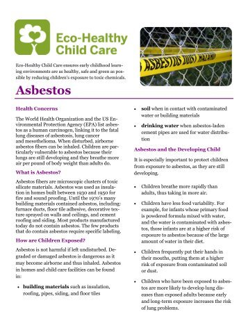 asbestos and the environmental effects Environmental remedies, inc (eri) has been providing superior environmental remediation services to the bay area since 2004 our family of employees is diamond-certified in the safe and efficient removal of a variety of environmental hazards, such as lead and asbestos.
