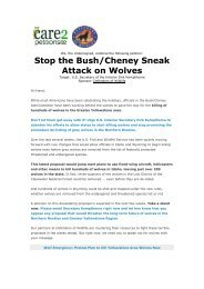 Stop the Bush/Cheney Sneak Attack on Wolves