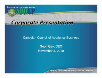 Corporate Presentation - Canadian Council for Aboriginal Business