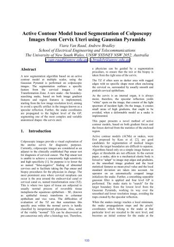 Active Contour Model based Segmentation of Colposcopy Images ...