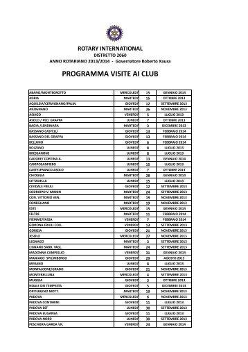 visite in ordine alfabetico (pdf) - Rotary International Distretto 2060