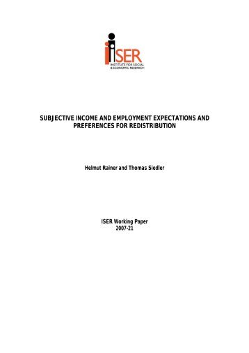 Subjective Income and Employment Expectations - Institute for ...