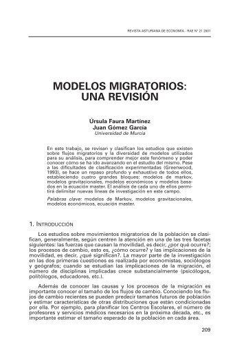 modelos migratorios: una revisión - Revista Asturiana de Economia