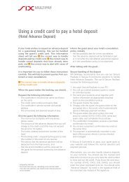 Using a credit card to pay a hotel deposit - SIX Financial Information