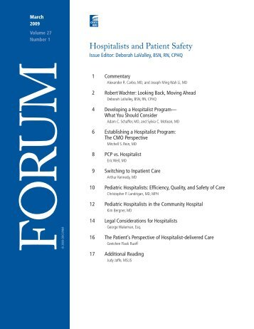 Pediatric Hospitalists - Risk Management Foundation