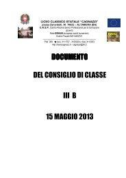 documento documento del consiglio di classe iii b 15 maggio 2013