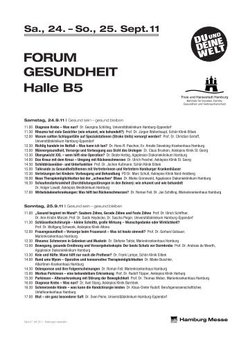 Sa., 24. – So., 25. Sept.11 FORUM GESUNDHEIT Halle B5 - Hamburg Messe