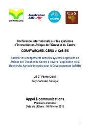 Annonce de la Conference Internationale CORAF-AFSI Fev-2015