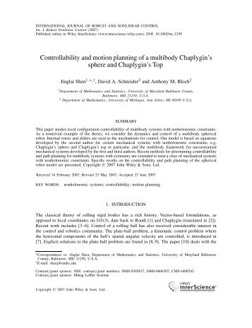Controllability and motion planning of a multibody Chaplygin's ...