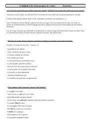 L'infinitif et les trois groupes de verbes Exercices - Pass Education