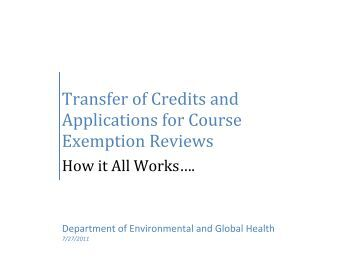 Transfer of Credits and Applications for Course Exemption Reviews
