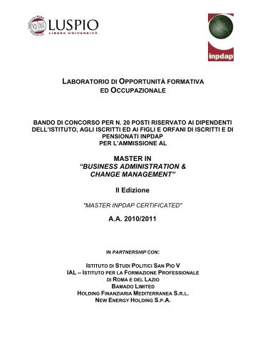BUSINESS ADMINISTRATION & CHANGE MANAGEMENT