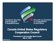 Regulation Cooperation Council - Canadian Meat Council