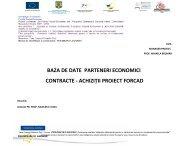 baza de date parteneri economici contracte - achiziţii proiect forcad