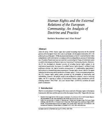 Human Rights and the External Relations of the European Community
