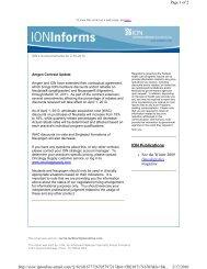 ION Informs Special Announcement: Amgen Contract Update