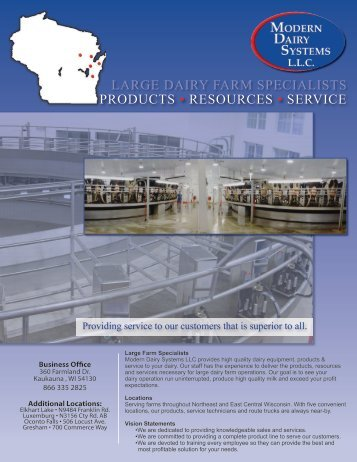 products • resources • service large dairy farm specialists
