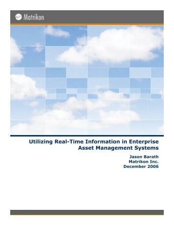 Utilizing Real-Time Information in Enterprise Asset Management ...