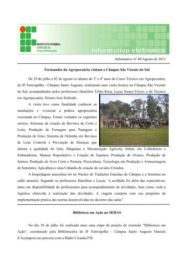 Informativo Agosto-2013 - Instituto Federal Farroupilha