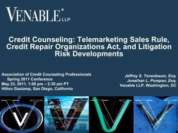 Telemarketing Sales Rule, Credit Repair ... - Venable LLP