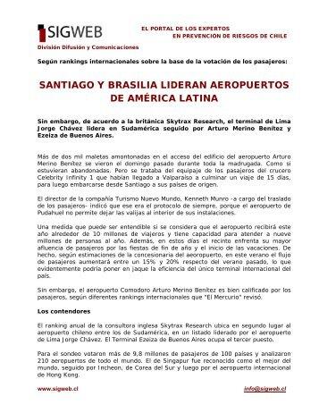 Santiago y Brasilia lideran aeropuertos de América Latina - Sigweb