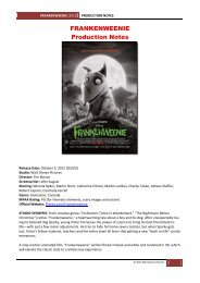 FRANKENWEENIE Production Notes - Visual Hollywood