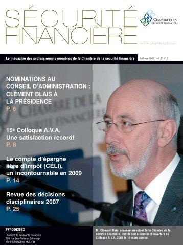 avril-mai 2008 - Vol. 33 - No 2 - Chambre de la sécurité financière