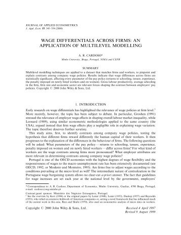 Wage differentials across firms: an application of multilevel modelling