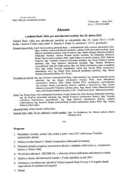 Záznam z jednání Rady dne 20. února 2012 - Vláda ČR