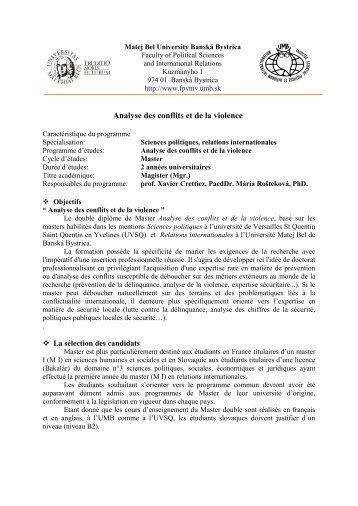Analyse des conflits et de la violence - Univerzita Mateja Bela